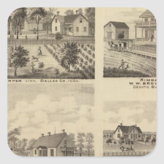 Residences in Linn and Desoto, Dallas Co, Iowa Square Sticker