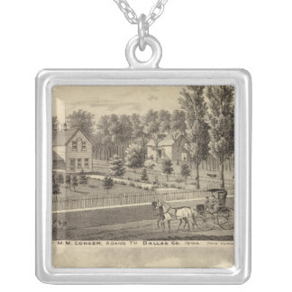 Residences of MM Conger and GW Harrison Square Pendant Necklace