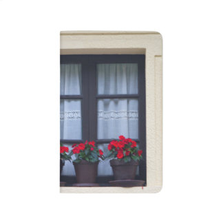 Residential housing with flowers in windows journal