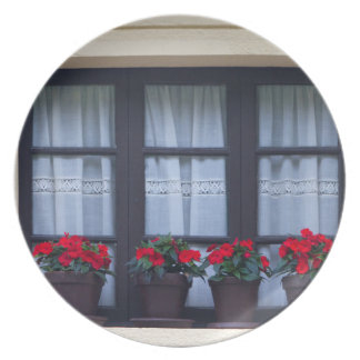 Residential housing with flowers in windows plate