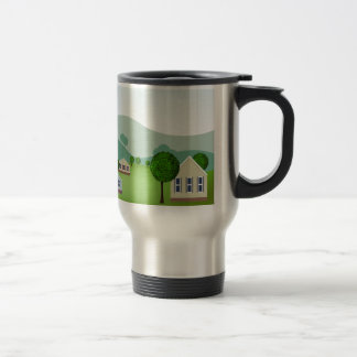 Residential Neighborhood Homes Cartoon Travel Mug
