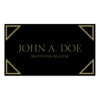 Residential Realtor Black Antique Gold Corners Business Cards