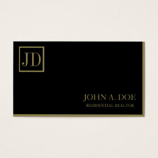 Residential Realtor Black/Gold Square Monogram