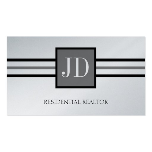 Residential Realtor Broker Monogram Platinum Paper Business Card Templates