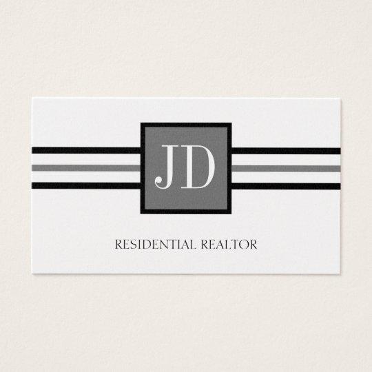 Residential Realtor Broker Monogram Platinum Paper Business Card