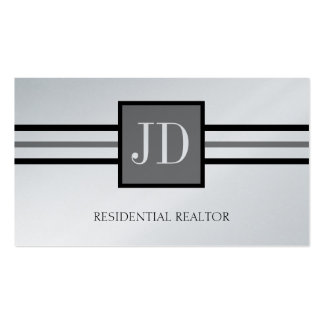 Residential Realtor Broker Monogram Platinum Paper Pack Of Standard Business Cards