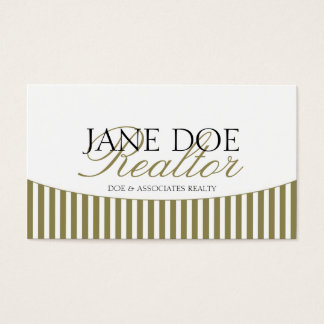 Residential Realtor Gold Script Stripes White