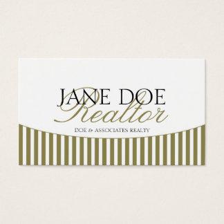 Residential Realtor Gold Script Stripes White Business Card