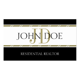Residential Realtor Gold Stripes Business Card Templates