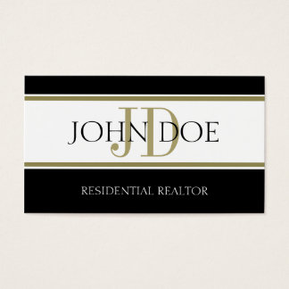 Residential Realtor Gold Stripes Business Card