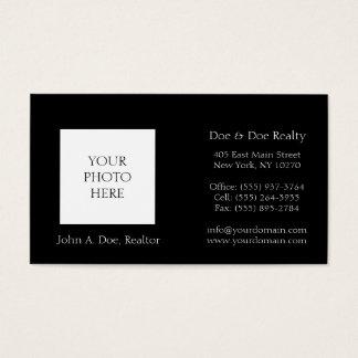 Residential Realtor Head Shot Classic Black Business Card