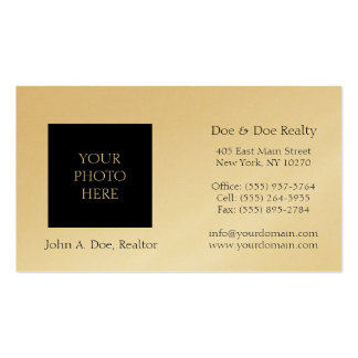 Residential Realtor Head Shot Gold Paper Business Card Template