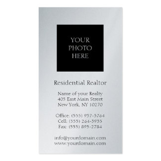 Residential Realtor Head Shot Platinum Paper Business Card Template