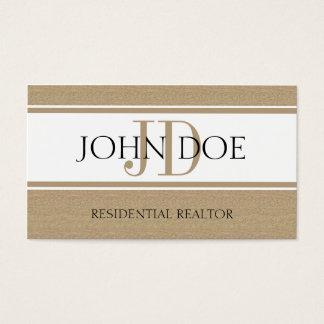 Residential Realtor Real Estate Monogram Dark Tan Business Card