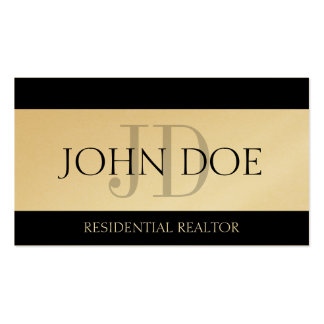 Residential Realtor Real Estate Monogram GoldPaper Business Cards