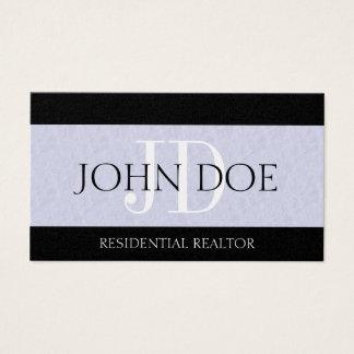 Residential Realtor Real Estate Monogram Platinum Business Card