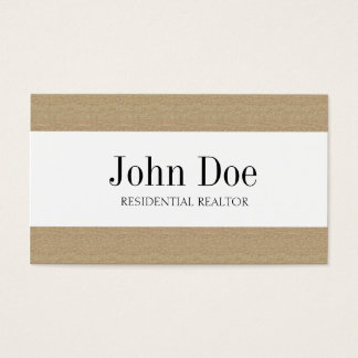 Residential Realtor Real Estate Texture Tan Stripe Business Card