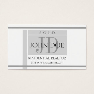 Residential Realtor Sign Stripes W/W Business Card