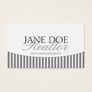 Residential Realtor Silver Script Stripes White Business Card
