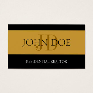 Residential Realtor Stripe Gold Business Card