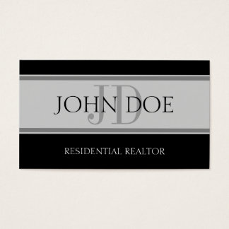 Residential Realtor Stripe Lt Grey Business Card