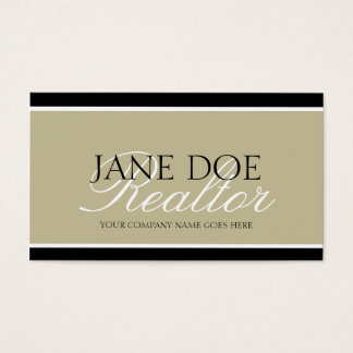 Residential Realtor Tan/White Script/Black Borders