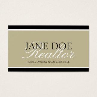 Residential Realtor Tan/White Script/Black Borders Business Card