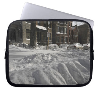 Residential urban (city) street on sunny winter 2 laptop sleeve