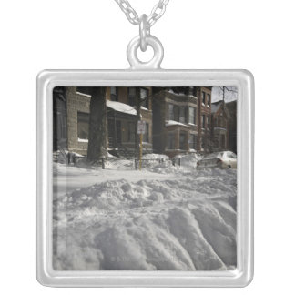 Residential urban (city) street on sunny winter 2 silver plated necklace