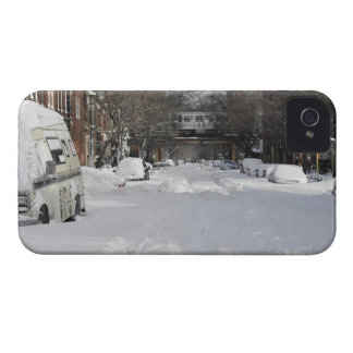 Residential urban (city) street on sunny winter iPhone 4 cases