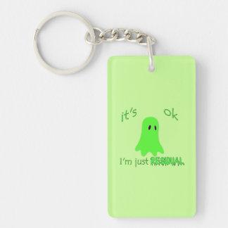 Residual Haunting - Green Ghost Rectangular Acrylic Keychain