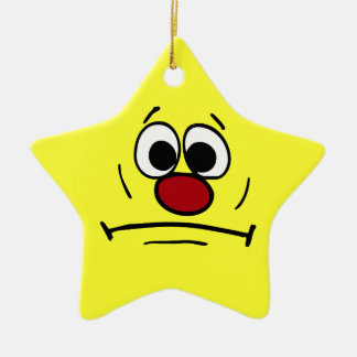 Resigned Smiley Face Grumpey Ceramic Star Decoration