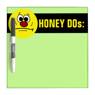 Resigned Smiley Face Grumpey Dry Erase White Board