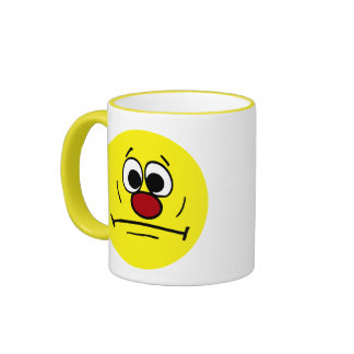 Resigned Smiley Face Grumpey Ringer Mug