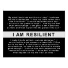 RESILIENT LIVING: I AM RESILIENT POSTER