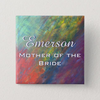 Resilient ROYGBIV Abstract Rainbow Bridal Party 15 Cm Square Badge