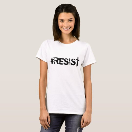 "#Resist ""Anti-Trump"" Political Button T-Shirt"