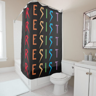 Resist in Rainbow Colors Shower Curtain