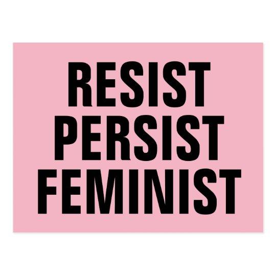 Resist Persist Feminist Resistance Pink Postcard