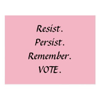 Resist Persist Remember Vote Resistance Postcard