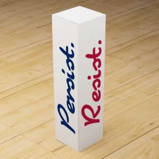 Resist Persist Resistance Red White and Blue Wine Gift Box