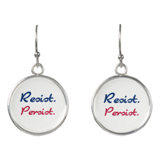 Resist Persist Resistance White Red Blue Earrings