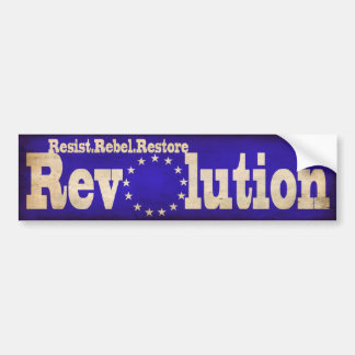 Resist Rebel Restore Revolution Bumpersticke(Blue) Bumper Sticker
