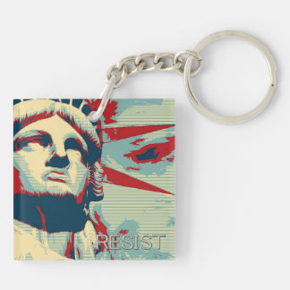 RESIST - Statue of Liberty Double-Sided Square Acrylic Key Ring
