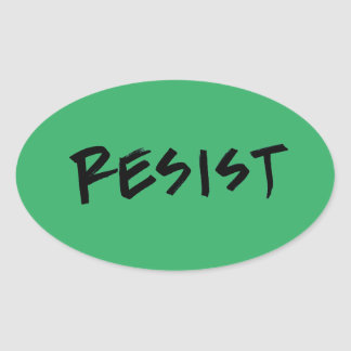Resist Stickers-4 per sheet-green Oval Sticker