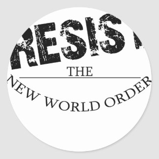 Resist The New World Order Classic Round Sticker
