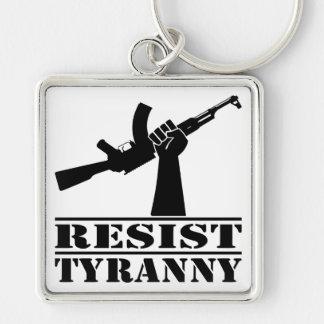 Resist Tyranny AK Silver-Colored Square Key Ring
