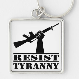Resist Tyranny AR Silver-Colored Square Key Ring