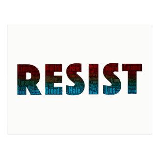 Resist Word Art Postcard