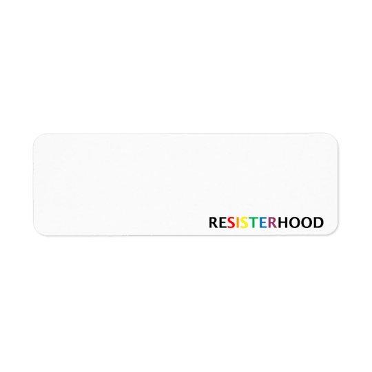 resisterhood return address label